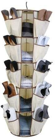 Smart Design Smart Carousel Organizer w/ 40 Pockets & Steel Metal Hook - 360 Degree Swivel - Heavy Duty Fabric - Clothing, Shoes, Misc. Item - Home Organization x Inch) [Beige] Shoe Storage, Diy Storage, Diy Organization, Organizing Shoes, Smart Closet, Shoe Organizer, Organizers, Diy Wall Shelves, Mason Jar Lighting