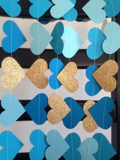 Bridal shower decor, Paper Heart Garland, Blue Garland, Gold Glitter Heart, Wedding Reception Decor, Baby shower Decoration, Party by designbyGeja on Etsy