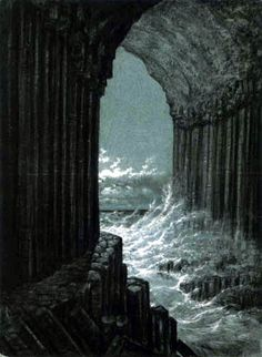 Carl Gustav-Carus (German 1789–1869) [Romanticism] View from the Fingal's Cave.
