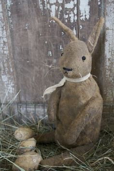 Vintage bunny and faux eggs.