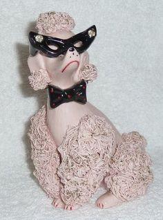 Vintage Spaghetti Pink Poodle Dog Figurine Glasses Rhinestones