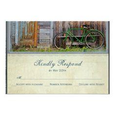 Vintage Bicycle Rustic Barn Wedding RSVP Cards