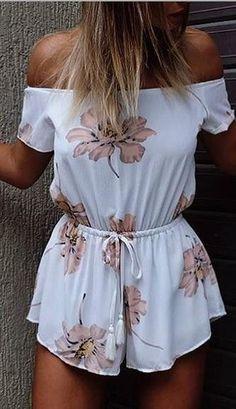 Strapless Off-shoulder Flower Print Short Sleeves Jumpsuits