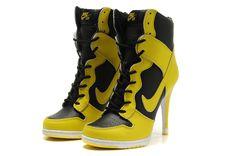 new arrivals fb42c 8b33a Women High Heels Nike Dunk Yellow Black Botas, Zapatillas Puma, Zapatillas  De Tacón Alto