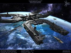 Sci-fi concept space station - Orbital fortress by ~SmirnovArtem on deviantART… Spaceship Art, Spaceship Design, Spaceship Interior, Space Fantasy, Sci Fi Fantasy, Aliens, Starship Concept, Sci Fi Spaceships, Sci Fi Ships
