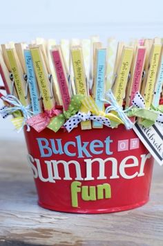 bucket of summer fun--unclip the clothespin when activity is completed and throw it into the bucket