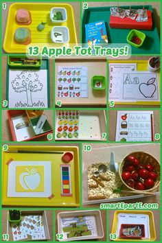 13 apple themed tot/preschool trays to celebrate Fall and the harvest season! This includes a fun dough tray and sensory bin.