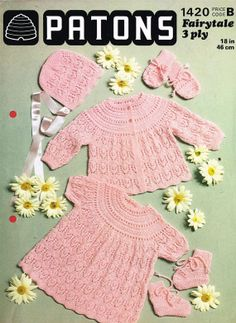 Patons 1420 baby matinee coat and bonnet lacy by Ellisadine, £1.00