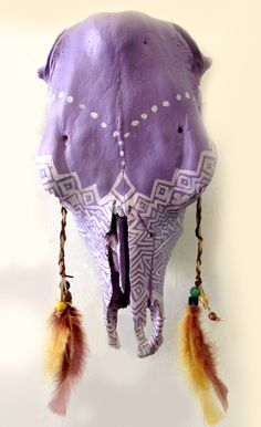 Moondreamer hand painted cow skull by MoondreamerCreations on Etsy, $450.00
