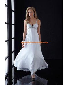 Robe blanche bretelles col en V cristaux mousseline robe de soirée 2013