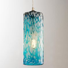 """Mottled Glass Cylinder Pendant Clear tinted mottled glass provides texture and interest. Available in Aqua, Lemon and Lime. Chrome hardware. 9' clear pendant cord. (13.25""""Hx4.75""""W) 60W max medium base socket. Beach decor ideas / Blue Coastal lighting"""