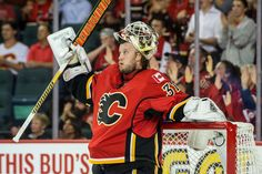 07 October 2015: Calgary Flames Goalie Karri Ramo (31) [4761] takes a break during an NHL hockey game between the Vancouver Canucks and the Calgary Flames at the Scotiabank Saddledome in Calgary, AB Canada. (Photo by Jose Quiroz/Icon Sportswire)
