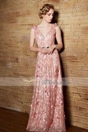 Coniefox Seductive Deep V-neck A-line Long Backless Evening Dress with Sequins and Flowers Details 30856