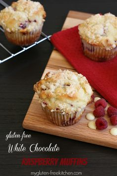 Gluten-free White Chocolate Raspberry Muffins with Almond Streusel Topping- a yummy mid-morning treat!