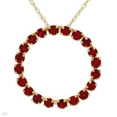 Stylish Circle Necklace with 1ctw Genuine Garnets in 10K Yellow Gold RRP $159. Start price on eBay now $19.99!