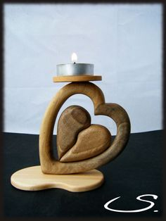 Wooden heart candle holder (Diy Candles Holders)