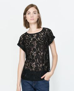 Image 3 of LACE T-SHIRT WITH DETAILING from Zara $25.90