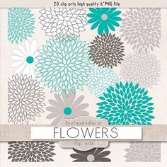 Flowers clipart teal grey by burlapandlace on @creativemarket
