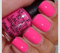 Pink nail polish, pink tip nails, barbie pink nails, nail polishes, b Opi Pink Nail Polish, Pink Tip Nails, Manicure E Pedicure, Get Nails, Love Nails, Bright Pink Nails, Barbie Pink Nails, Pink Nail Colors, Pedicures