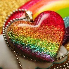Rainbow Bright  Resin Glitter Heart Necklace di stoopidgerl