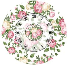 pink and yellow roses clock Paper Flowers Diy, Flower Crafts, Clock Face Printable, Shabby Chic Clock, Clock Craft, Clock Flower, Paisley Art, Antique Plates, Scroll Pattern