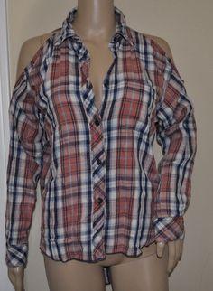 NWT Ralph Lauren Denim Supply Red Plaid Cold Shoulder Button-Down Shirt Women XS #RalphLauren #ButtonDownShirt