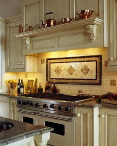 Showroom Dispay - traditional - kitchen - boston - Venegas and Company Tuscan Kitchen, Beautiful Kitchens, Kitchen Stove, Kitchen Remodel, Home Kitchens, Kitchen Tiles Backsplash, Backsplash Designs, Kitchen Design, Shabby Chic Kitchen