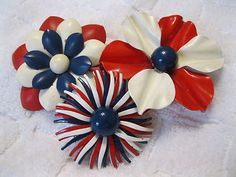 Lot of 3 Big Vintage Red White Blue Enamel Flower Power Retro Brooches Pins | eBay