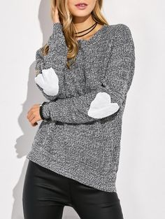 Heart Elbow Patch Round Neck Sweater 0e59549f6