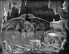 Satan as depicted in the Ninth Circle of Hell in Dante Alighieri's Inferno, illustrated by Gustave Doré