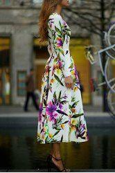 Ladylike Round Collar Flower Print Long Sleeve Dress For Women