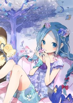 anime girl with little flowers