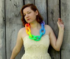Felt Necklace. Pastel Neon Rainbow Necklace. Chunky Chain Link Felted Necklace. Handmade Felt Jewelry