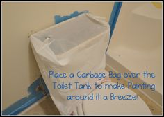Painting Tip for Around the Toilet - Pinterest365  Now I feel really stupid for not thinking of this before!
