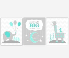 Baby Boy Nursery Art Teal Aqua Gray Grey Elephant Giraffe Dream Big Little One Jungle Safari Zoo Animal Prints Baby Nursery Decor Baby Girl Elephant, Grey Elephant, Giraffe, Boy Wall Art, Nursery Wall Art, Baby Girl Nursery Decor, Baby Boy Nurseries, Watercolor Walls, Baby Prints