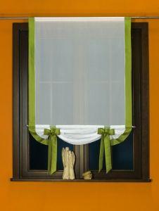 Nowoczesny panel woalowy - PANMAX kol. biały z zielonym - 140x100 cm