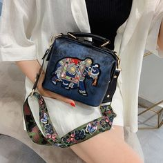 Vintage Embroidery Elephant Bag Bags Wide Butterfly Strap PU Leather Women Shoulder Crossbody Bag Tote Women's Handbags Purses Clutch Bag, Tote Bag, Crossbody Bags, Teacher Bags, Hippie Bags, Types Of Bag, Vintage Embroidery, Shoulder Handbags, Shoulder Bags