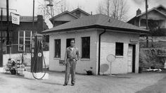 """Transit Oil Company, Broadway at Chestnut, about 1938. One of numerous small discount stations around Asheville in the 1930s through the 1970s. Also from my book, One Hundred Years of Gas Stations.""  Shared by Wayne Henderson on ""You know you grew up in Asheville, North Carolina if. . ."" Facebook page."