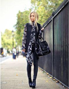 Soft patterns & black - work look