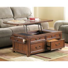 Signature Design By Ashley Woodboro Dark Brown Oak Lift Top Tail Table Ping Great Deals On Coffee