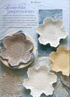 cool pottery made from clay and lace. crafts-and-diy-projects-i-love