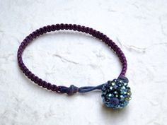 Handmade Purple Macrame Stitch Bracelet  Rhinestone by iodenise, $14.00