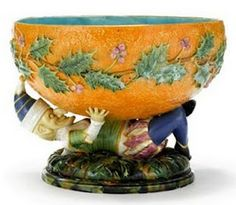 """George Jones majolica """"Mr. Punch"""".  Holly adorned punch bowl.  Very coveted. 19th century English"""