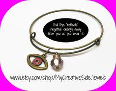Pink evil eye bangle bracelet. Positive vibes only.  SHOP: https://www.etsy.com/shop/MyCreativeSideJewels