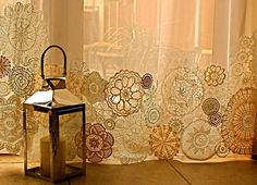 Vintage lace doilies attached to the bottoms of sheer curtains. If the doilies don't have this variation, dye some of them with tea, coffee, or other 'staining' agents (vary the times they are left in the solution for). No Sew Curtains, Crochet Curtains, Curtains For Sale, Sheer Curtains, Patchwork Curtains, Bedroom Curtains, Drapery, Doilies Crafts, Lace Doilies