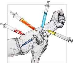 Illustrating the highly addictive effect that social media can have on someone's life.  Intravenous drug use is one of the most extreme and this image I found to be quite eye opening.