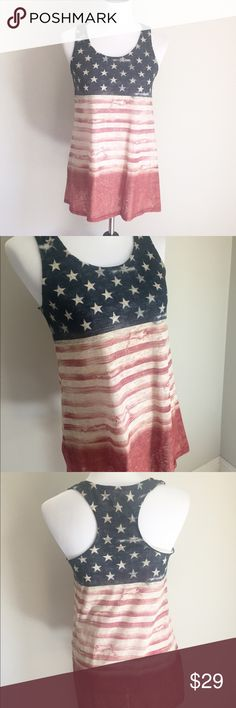 """LAST 2!!! American Flag racerback top  Arrive at your Labor Day BBQ in style with this super cute and comfortable American Flag tank. Measurements are approx small: 18"""" underarm to underarm, medium 19"""" & large 20"""" and does have 2 inches of stretch. Length is 28"""" & would look amazing with distressed shorts! ***Price is firm, comes with free hot pink sunglasses*** Boutique  Tops Tank Tops"""