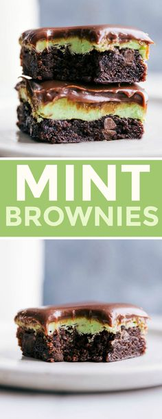 Easy mint brownies with a thick layer of mint frosting and a soft chocolate ganache topping. These mint brownies are easy to make and so flavorful. Chocolate Dipped Fruit, Chocolate Ganache, Chocolate Desserts, Winter Desserts, Christmas Desserts, Mint Frosting, Baking Recipes, Dessert Recipes, Brownie Recipes