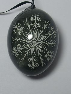 Pysanky Snowflake Ornament on Chicken Egg Dark Green by EggsNBakin, $12.00