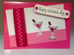 "Stampin' Up ""Good Greetings"" and ""Making Spirits Bright"", wood grain folder, rhinestones from Dollarama. Happy Valentines Day!"